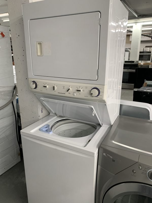 Frigidaire Spacesaver washer dryer stacked unit with no agitator for large loads 1