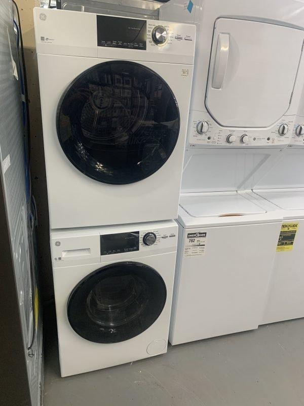 """24"""" Stackable Washer Dryer set GE GFW148SSMWW GE GFD14JSINWW 1"""