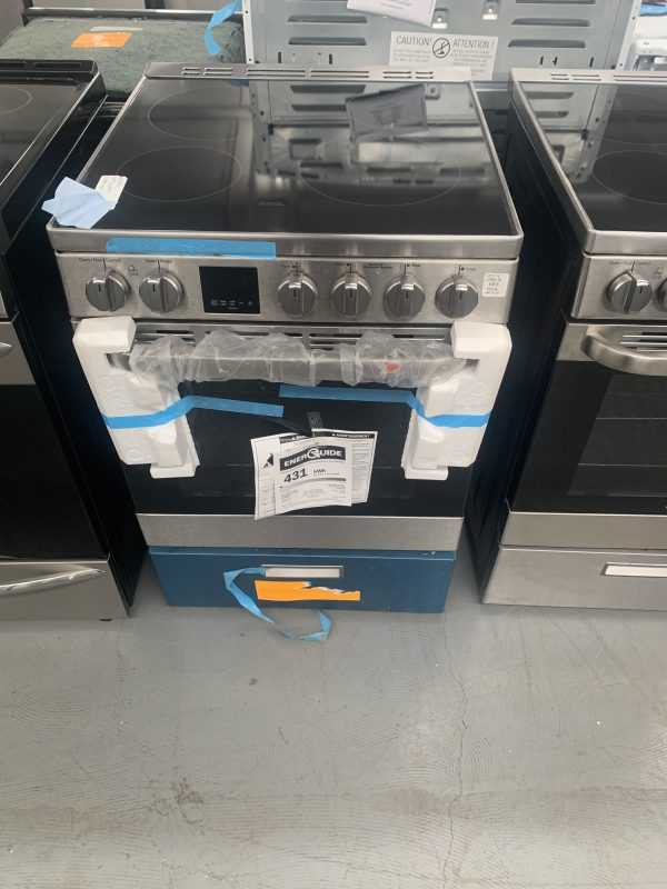 GE 24-inch 2.9 cu.ft Single Oven Electric Range Oven with Steam Cleaning in Stainless Steel 1