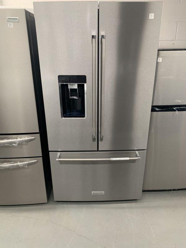 "KitchenAid 23.8 Cu. Ft. 36"" Counter-Depth French Door Platinum Interior Refrigerator With PrintShield Finish 1"