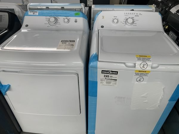 GE 4.4 Cu. Ft. High Efficiency Top Load Washer & 6.2 Cu. Ft. Electric Dryer - White 1