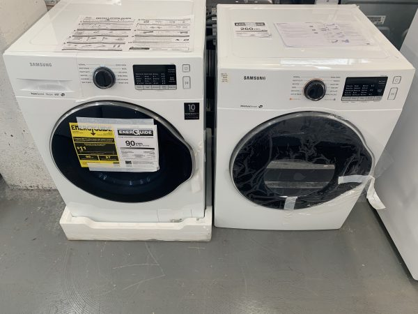 Samsung 2.6 Cu.Ft. High Efficiency Front Load Steam Washer & 4.0 Cu.Ft. Electric Compact Dryer-White 1