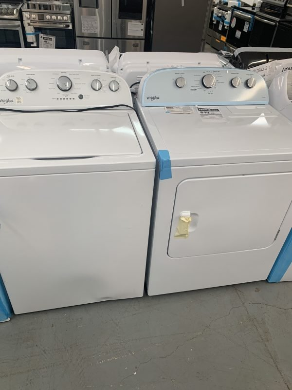 Whirlpool 5 Cu. Ft. HE Top Load Washer & 7.0 Cu. Ft. Electric Steam Dryer - White 1